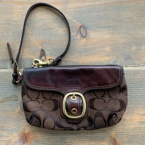 Coach brown leather/cloth wristlet